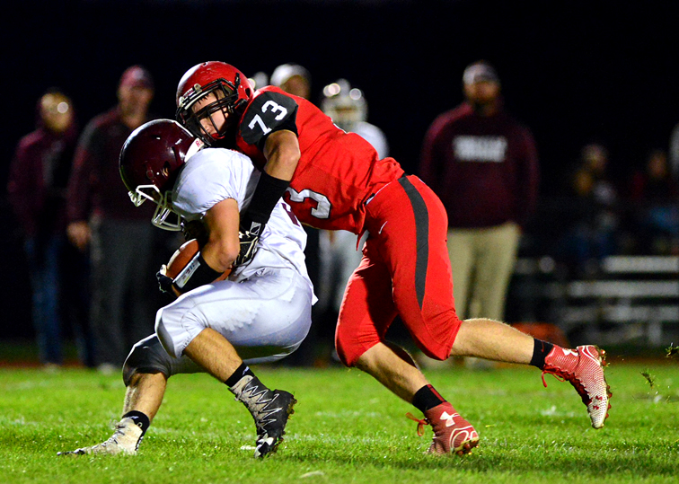 Maple Grove's Carter Russo (73) was named the Section VIClass D Defensive Player of the Year by the league's coaches. P-J file photo by Scott Reagle