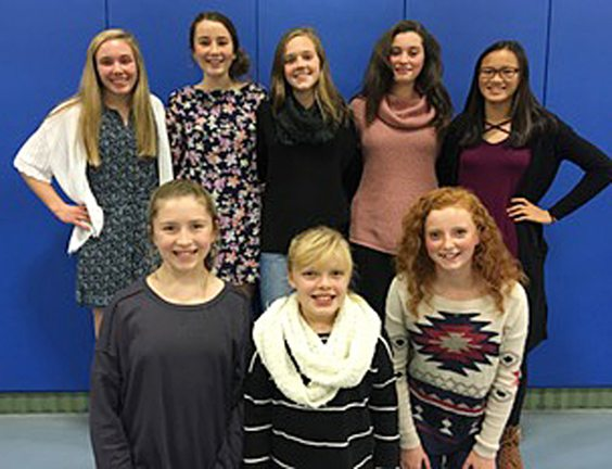 The Southwestern Central School girls cross country team held its banquet earlier this week in the gymnasium at the Busti Church of God. Above are team members. In the first row, from the left, are manager Callie Emley, manager Grace Anderson and Lily Nelson. In the back row are Kayla Allen, Madi Barreto, Hannah Sullivan, Gabby Wigren and Quinn Taylor. Missing are Bethany DeShantz and Fiona Hagel. Nelson was the recipient of the Amy King Team Spirit Award, Allen received the Mental Attitude Award, DeShantz was the recipient of the Most Improved Award and Sullivan received the Most Valuable Award. Submitted photo