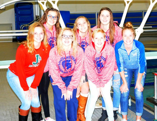 Above are the area swimmers who will be competing at the New York State Public High School Athletic Association Swimming & Diving Championships at Ithaca College, beginning today. In the first row, from the left, are Allie Stockwell of Jamestown, Megan Seeley and Rosie Hagel of Southwestern, and Karianne Yuchnitz of Panama. In the back row are Maddie Nelson, Natalie Fosberg and Grace Wood, all of Southwestern. Missing is Riley Drummond of Fredonia/Dunkirk/Silver Creek/Forestville/Brocton. P-J photo by Scott Kindberg