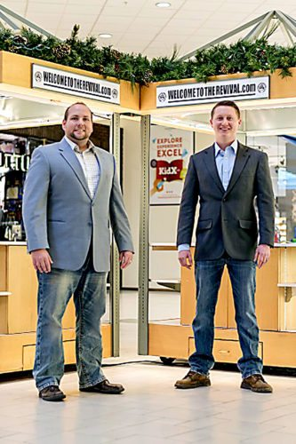 Justin Thorp and Brent Morris will open their Christian-based apparel shop, Welcome To The Revival, on Thanksgiving at the Chautauqua Mall. Morris and Thorp will also open an online shop at welcometotherevival.com.  Submitted photo