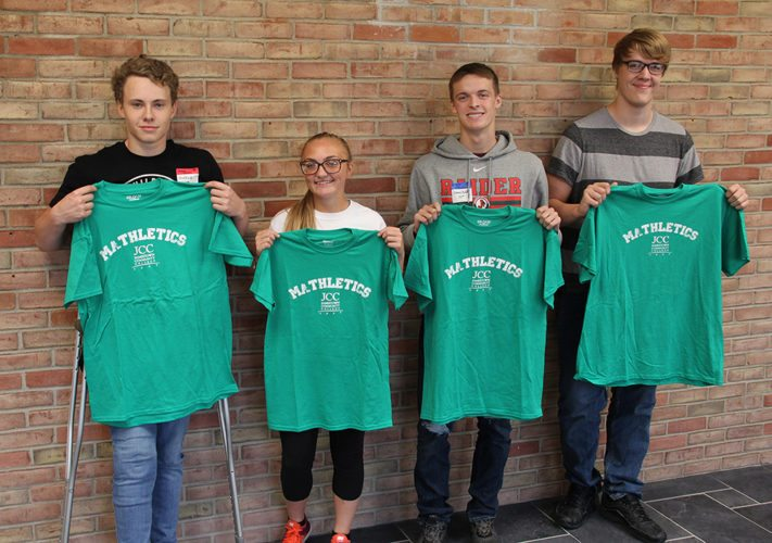 Shane Dietz, Kiara Marchincin, Andrew Pumford and Cade Pollock comprised the winning team in JCC's Mathletics competition.