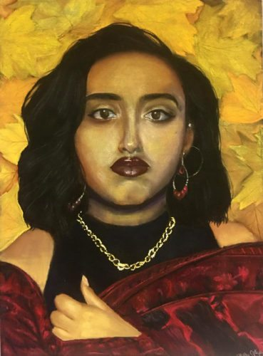 "Cellyann Semidey, Self-Portrait, dry pastels on textured black paper, 25.5"" x 19""."