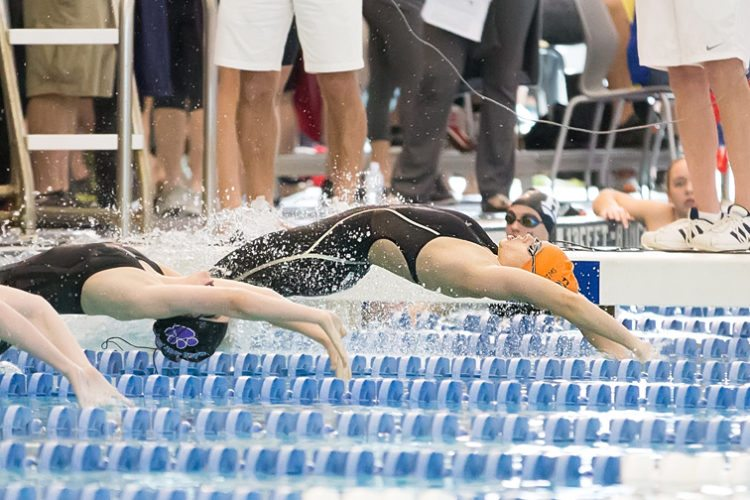 Riley Drummond of Fredonia/Dunkirk/Silver Creek/Forestville/Brocton competes in the 200-yard medley relay at the New York State Public High School Athletic Association Swimming & Diving Championships at Ithaca College on Friday. Photo by Deb Bailey