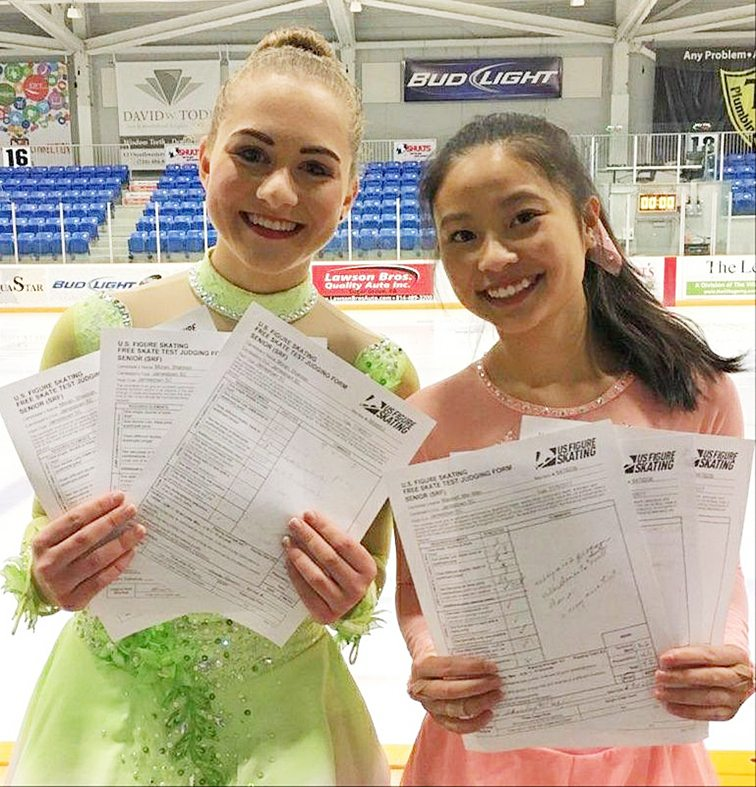 """Shannon Moran, a senior at Jamestown High School, and Mei Maxwell, a junior at JHS, passed their figure skating Gold/Senior Freeskate test earlier this month. Both skaters are members of the Jamestown Skating Club. Becoming a U.S. Figure Skating gold medalist is the culmination of many years of hard work and dedication to the sport. Passing skill tests presided over by official judges advances the skater to the next level. As a skater advances, the tests become more difficult. The highest achievement in each discipline is passing the senior, also called """"gold,"""" test. When a skater passes a gold test, he or she earns the designation """"U.S. Figure Skating gold medalist."""" Submitted photo"""