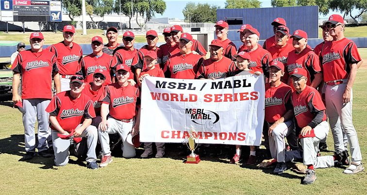 Charlie LaDuca, standing third from left, was a member of the Los Athletics team which won the Men's Senior Baseball League World Series last month in Arizona. Submitted photo
