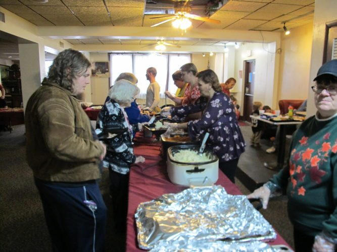The Jamestown Moose Lodge opened its doors to the public from 2-7 p.m. Sunday, during which free Thanksgiving meals were provided to community members who may not have the means to afford their own meals this week. P-J photo by Gavin Paterniti