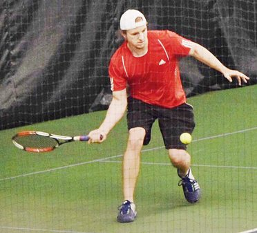 Martin Hoch returns a volley during during The Post-Journal Tennis Classic on Sunday. Hoch won the Men's Open Singles title. Submitted photo