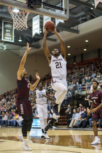 St, Bonaventure's Izaiah Brockington flies to the basket during Monday night's non-conference basketball game agaisnt Maryland Eastern Shore at the Reilly Center. P-J photo by Tim Frank