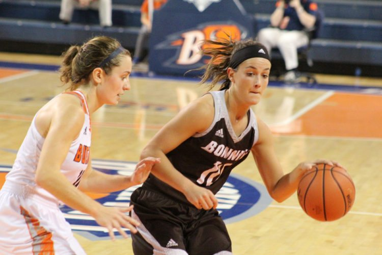 St. Bonaventure's Mckenna Maycock (10) attempts to get by a Bucknell defender during Tuesday evening's nonconference game in Lewisburg, Pa. Photos by Scott Eddy | St. Bonaventure Athletics