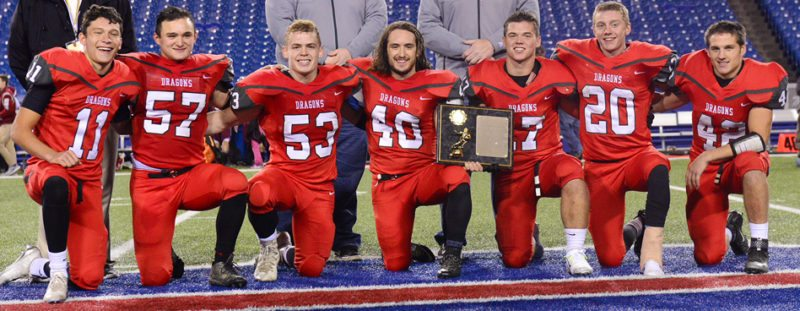 Above are senior members of the 2016 Maple Grove football team, which led the Red Dragons to the brink of a state championship. From the left are Michel Padilla, Alex Lai, Michael Derby, Brandon Reagle, Bradley Benson, Dalton DuBois and Trevor Micek. P-J file photo by Scott Reagle
