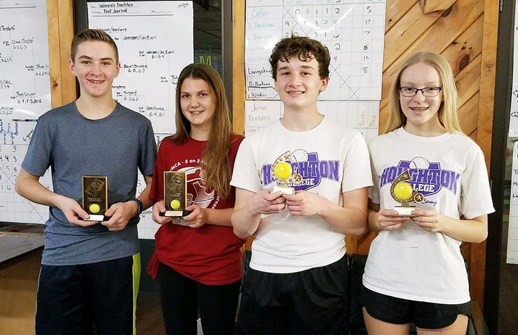 Mike Gerace and Emma Collins, left, won the Junior Mixed Doubles title over Campbell Howard and Jenna Hayes.