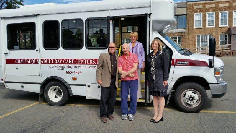 From left are Frank Bercik, Chautauqua Adult Day Care executive director, Paul McCoy, Linda Swanson, of the Sheldon Foundation, and, in back, standing, is Karen Lucks, Chautauqua Adult Day Care associate director.