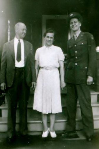 My dad, Raymond with his parents, circa 1942, before dad left for the South Seas during World War II. You can see how proud Ben is of his only son.