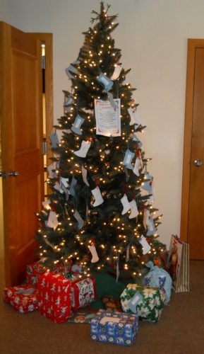 The Giving Tree in the lobby of Audubon Community Nature Center welcomes visitors. It invites them to take a tag from its branches that suggests a gift for the animals or to help the staff and volunteers who maintain them. Wrapped gifts will be opened on Wednesday, Dec. 27, by the children at Christmas with the Critters.