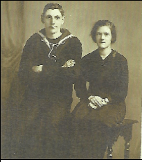 William Harford, a British Royal Navy gunner with ties to Jamestown, is pictured in his sailor's uniform with an unknown woman, believed to be his wife at a young age. Harford was present during the now famous World War I-era maritime disaster known as the Halifax Explosion, which occurred Dec. 6, 1917, in Nova Scotia, Canada. Though he had two siblings who immigrated to Jamestown, Harford lived out his days in England with his family. Submitted photo