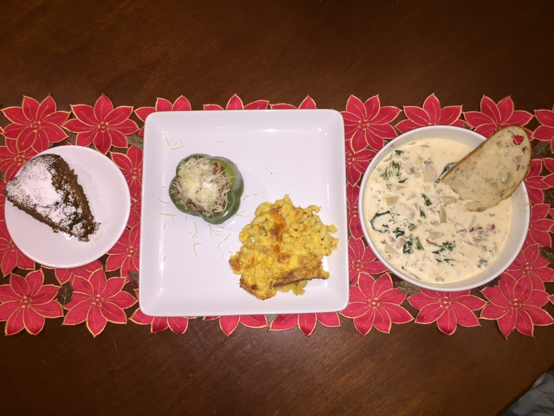 Jen and Mike Quimby prepared some of their family's favorite recipes. Left-Right-Butterscotch Bundt Cake, Stuffed Pepper, Mac n' Cheese and Sausage Potato Kale Soup.
