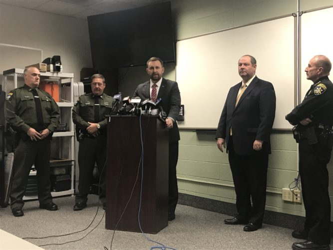 Patrick Swanson, Chautauqua County district attorney, announced Thursday that Thomas Jadlowski, 34, had been indicted by a grand jury. Jadlowski was then arraigned, with bail set at $50,000 cash and $100,000 property.  P-J photo by Katrina Fuller