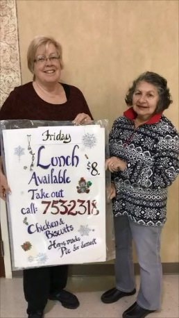 Pictured, from left, are Sharon Niedzwiecki, Chairman of this year's Christmas Bazaar, and Margaret Rammacher, a member of the Altar & Rosary Society.