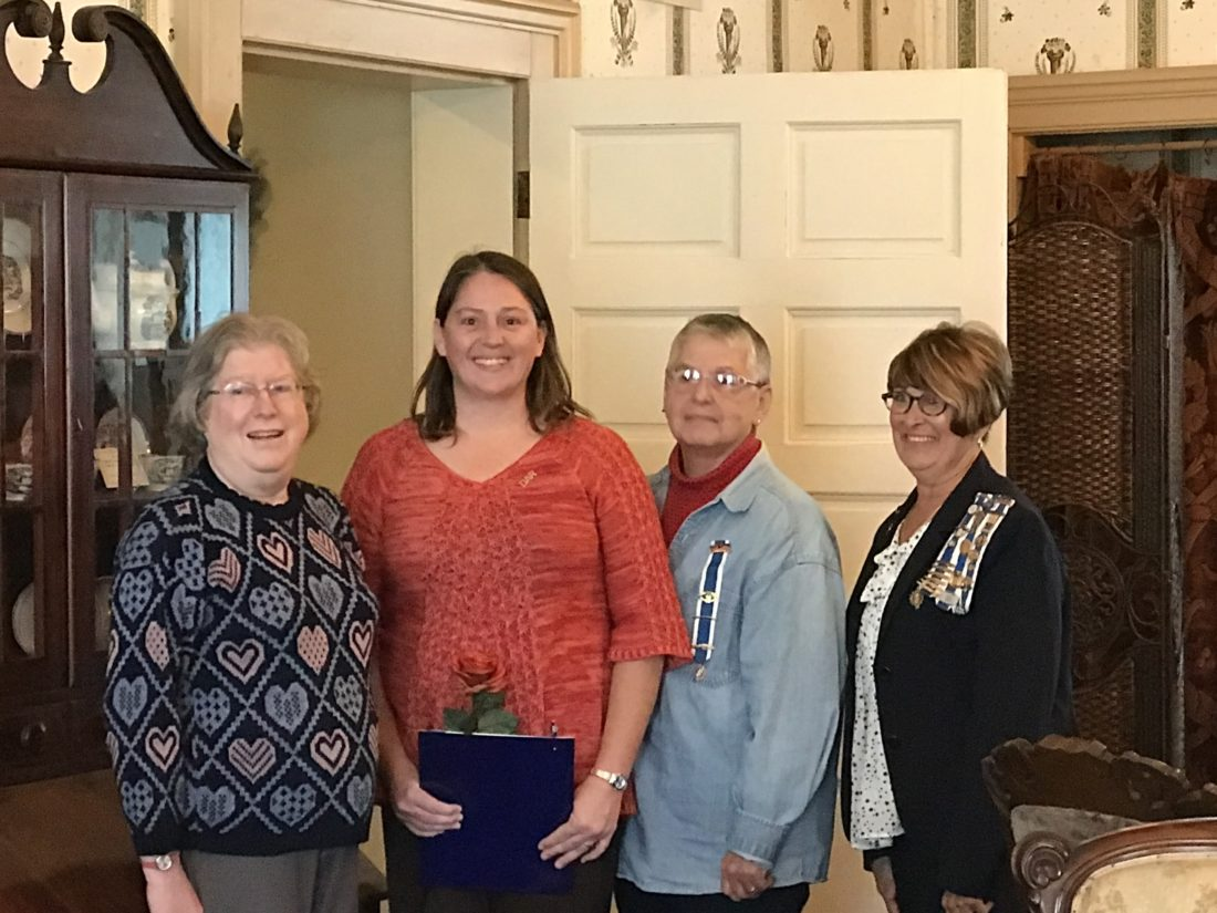 From left are Lisa Sedlmayer, Benjamin Prescott Chapter NSDAR chapter chaplain; Jill Babcock, a new member; Mercy Warren, 50-year member, and Brenda Johnson, Benjamin Prescott Chapter NSDAR regent.