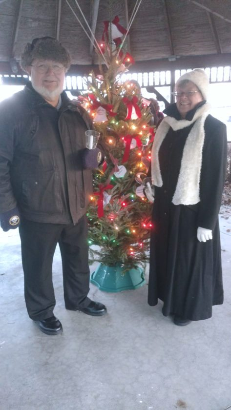 Attending the Memorial Tree Ceremony since it's inception are Ed Sarno and Sharon Howe Sweeting. Sweeting has sponsored an evergreen tree in the Memorial Park in honor of her parents,  Ernie and Helen Sweeting.