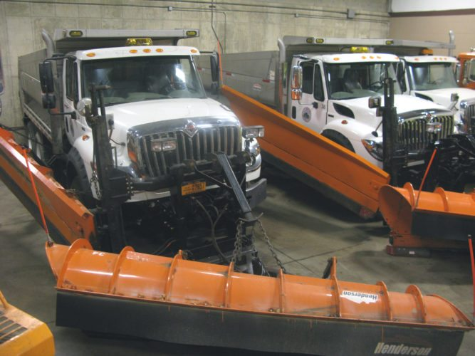 A Lake Effect Snow Warning for much of Chautauqua and Cattaraugus counties means snowplows are being prepared. Pictured are two of Jamestown's largest plows, which can also spread salt on local roads. According to the National Weather Service in Buffalo, several inches of snow could fall by Friday morning.  P-Jphoto by Eric Tichy