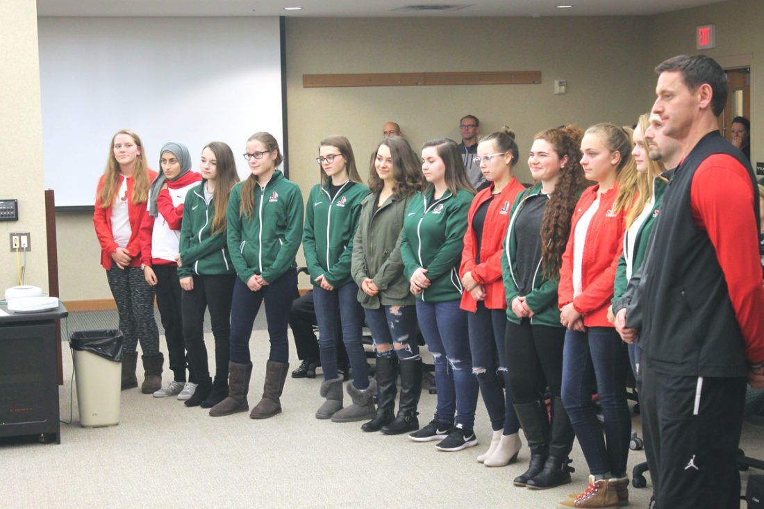 Members of the Jamestown High School tennis team were recognized Tuesday for being selected as recipients of the Chautauqua Cattaraugus Athletic Association Sportsmanship Award. P-Jphoto by Jordan W. Patterson