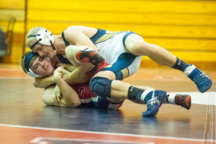 Falconer's Bryce Baglia controls Southwestern's Cy Herb at 152 pounds. P-J photo by Valory S. Isaacson