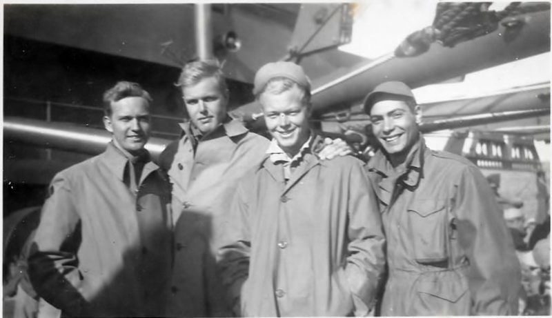 Dad, pictured at left, with U.S. Army Signal Corps friends.  Photos from family archives
