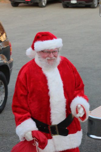 Santa arrives at the Kennedy Fire Hall.