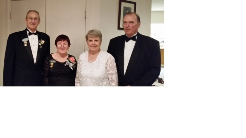 Pictured, from left, are Masonic Temple District Grand Officers at a recent installation of officers at the Baker Street Extension Masonic Temple: John Olszewski, district grand lecturer; Mary Prue, district deputy grand matron; Geraldine Yauchzy, chapter matron; and Donald W. Stewart, chapter patron.