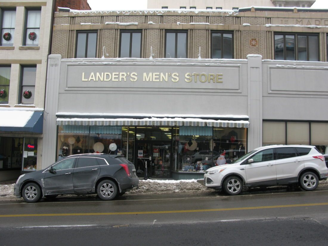 Pictured is Lander's Men's Store in downtown Jamestown. The shop saw an increase in sales during the Great Recession, which began 10 years ago this month. Other businesses, though, were hit much harder during the recession. P-J photo by Eric Tichy