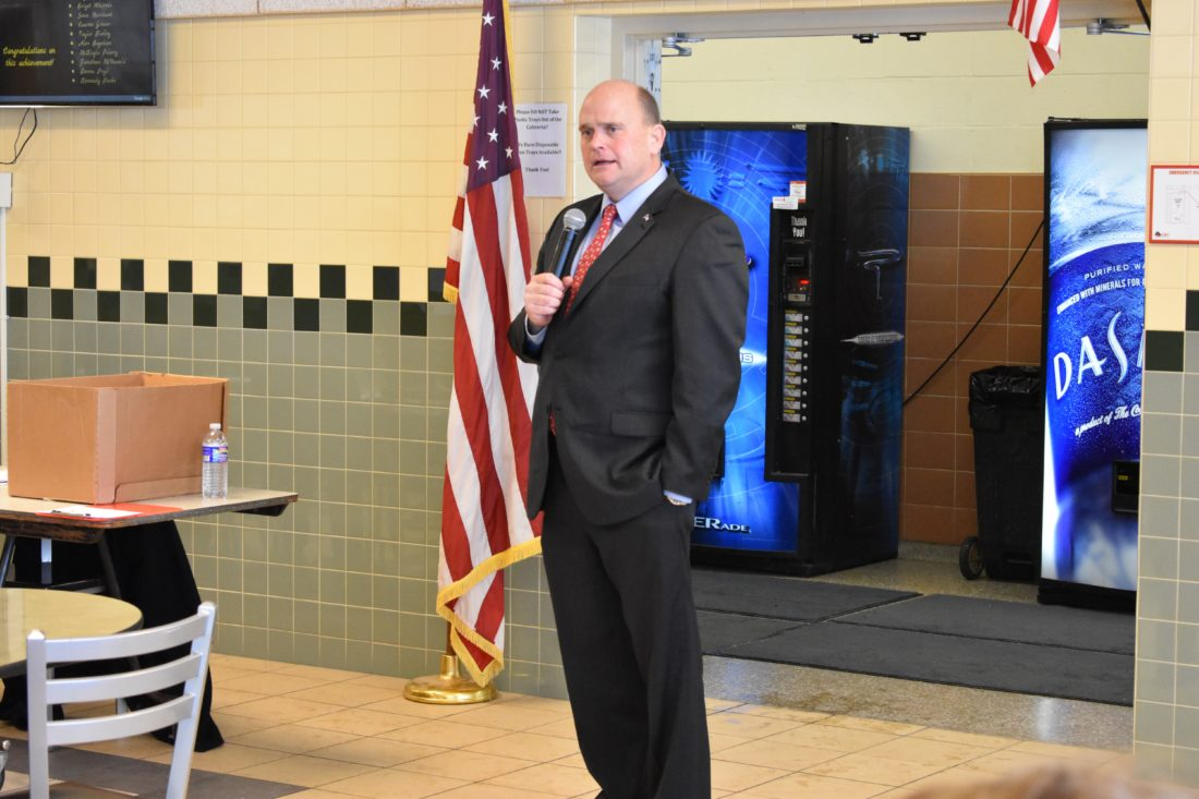 "Rep. Tom Reed, R-Corning, pictured at a town hall meeting last year in Silver Creek. Reed on Tuesday said he ""stands firm"" on Second Amendment Rights.  P-J photo by Jordan Patterson"
