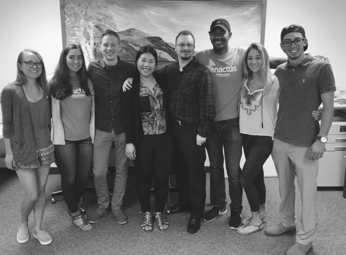 "Sunisi ""Bo"" Sirijindaphan is joined by members of the Enactus team that worked on the Siri Thai Cuisine project: Katelyn Killoran, Paige Halter, Dan Bertloff, Professor Justin Mindzak, Latrell Tyson, Nicole Lyons, and Nate Winn."