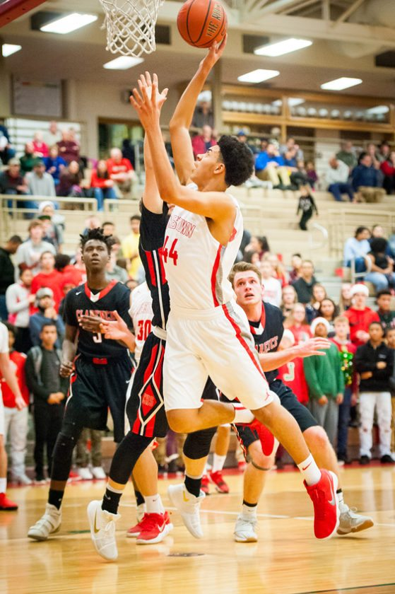Jamestown's Shaheem Freeney lays in two of his 14 points. P-J photo by  Valory S. Isaacson