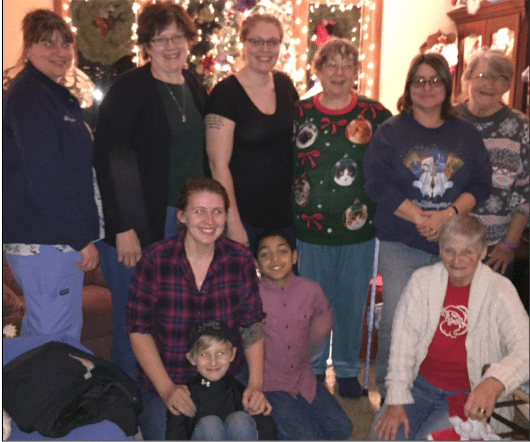 Old and new friends are brought together each year on the first Monday night of December at the home of Brenda Franzen in Busti. Left to right-back row: Shannon McCray, Christine Frankson, Megan Walz, Ginny Walz, Colleen Colley, Edna Dinkins front row: Biancia McCray with Alex McCray, Bruce Walz, Jr, Brenda Franzen