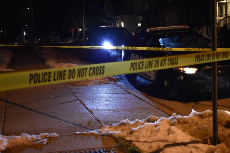 Police cordoned off the area after shots were fired at a residence on Barrett Avenue in Jamestown.  P-J photo by Jordan W. Patterson
