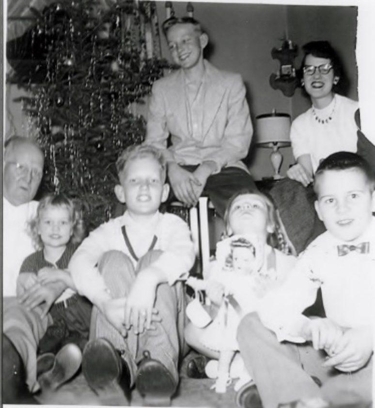 Johnson family Christmas, 1953. Grandpa Ben, Sandy, cousins Al Lager, Martha Jean and Chuck Larson, (back row) cousin Larry Nelson and cousin Nancy Larson.  Johnson family archives