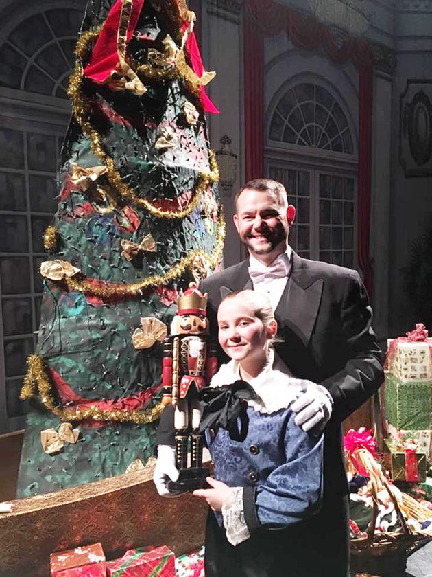 Richie Joly poses for a photo with his daughter, Peyton, during a performance of The Nutcracker. Submitted photo