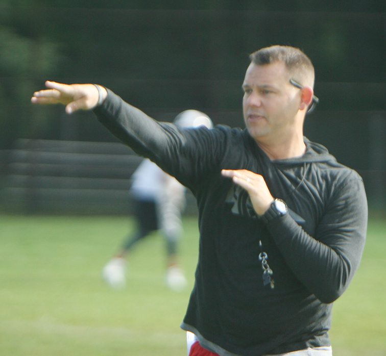 In this Aug. 14, 2017 file photo, Jamestown High School assistant varsity football coach Richie Joly makes a point during practice. P-J photo by Scott Kindberg