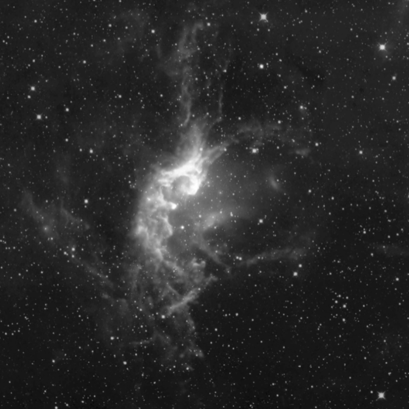 The Wizard Nebula (NGC7380) can be spotted in small telescopes this month in the constellation Cepheus. Gravity and powerful stellar winds in the nebula create enormous towers of gas and dust in the vicinity of young star clusters. This object, discovered in 1787 by Caroline Herschel, lies 7,200 light-years away.                                      Courtesy NASA/JPL, CalTech/UCLA