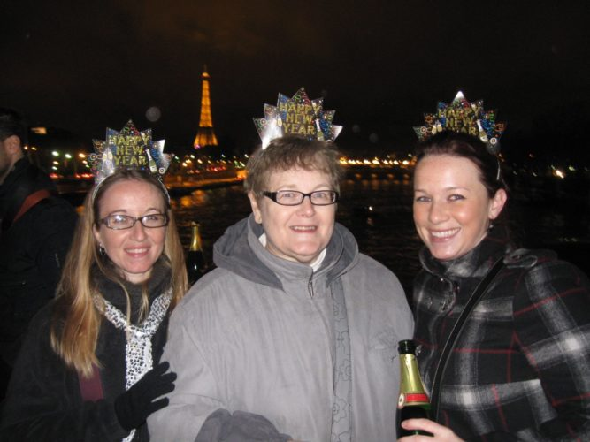 Pictured, from left, are my sister, my mom and myself on New Year's Eve in Paris.