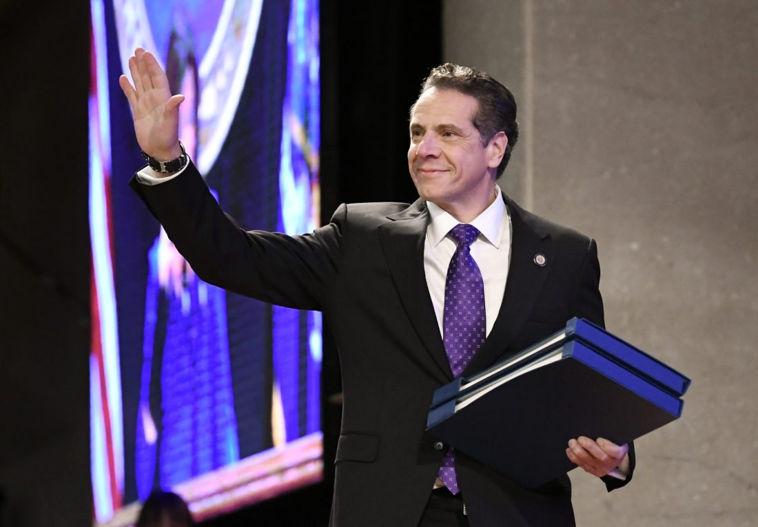 Gov. Andrew Cuomo arrives to deliver his state of the state address at the Empire State Plaza Convention Center on Wednesday in Albany. AP