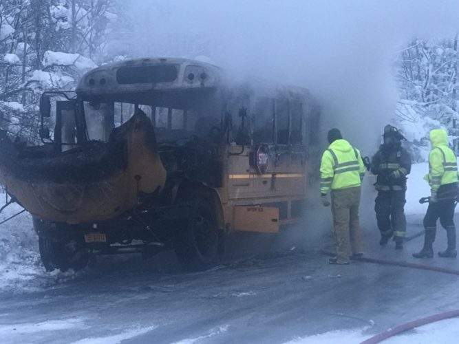A school bus with the Sherman Central School District was destroyed after experiencing mechanical problems Thursday morning and erupting in flames. Twelve students were safely removed from the bus before it caught fire.  Photo provided by Mike Ginestre
