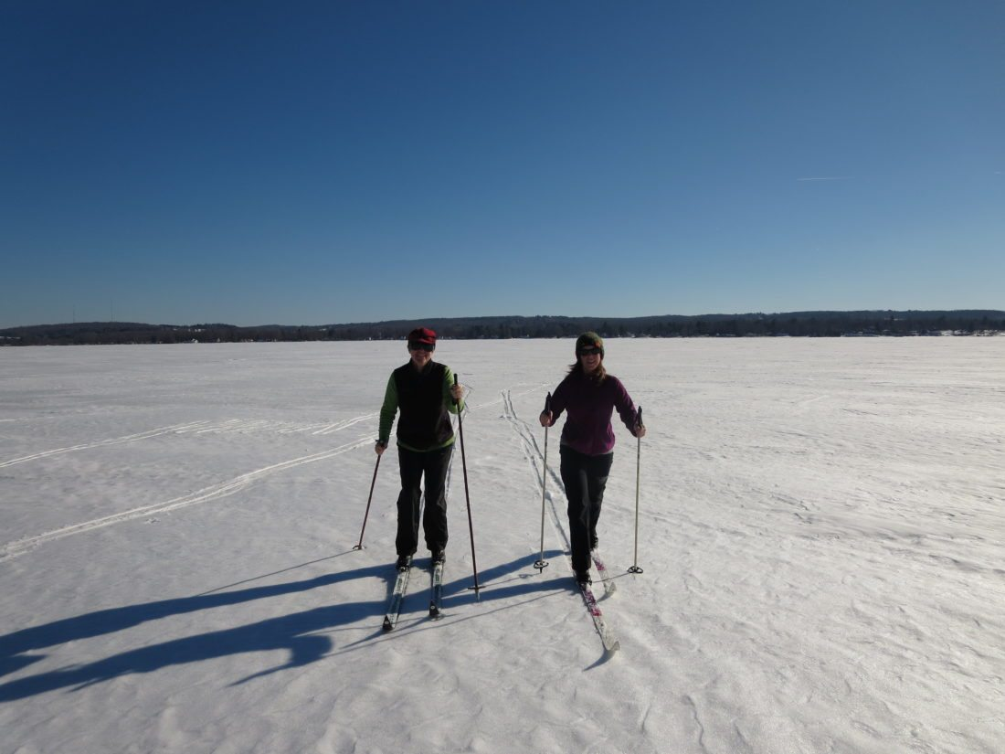 Cross country skiing across frozen Chautauqua Lake, 2014. Will it happen again this year?