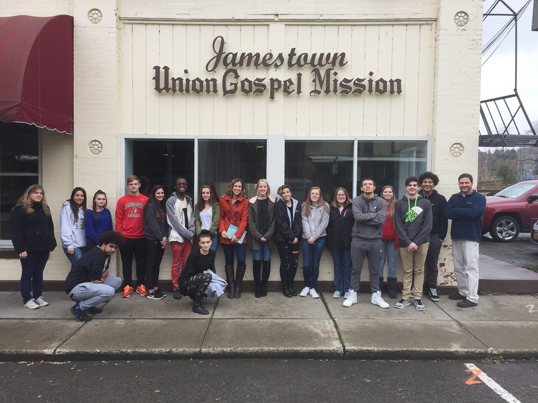"""Jamestown High School's """"Justice for All"""" class visited Jamestown Union Gospel Mission as a way to see firsthand some of the societal issues, such as homelessness, they are studying in class. Submitted photos"""