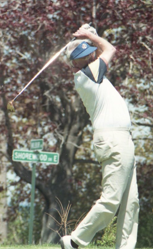 Jamestown native Dick Cole tees off at Shorewood Country Club during his later years on the links. P-J file photo