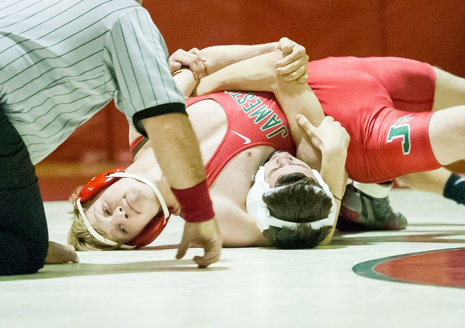 Jamestown's Dylan Pool is on his way to a pin over Lancaster's Nick Barberio at 126 pounds.