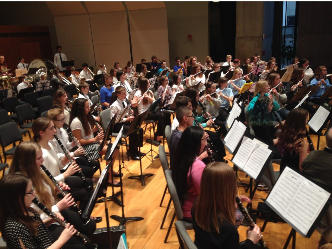 Pictured are students performing with the Chautauqua Concert Band.