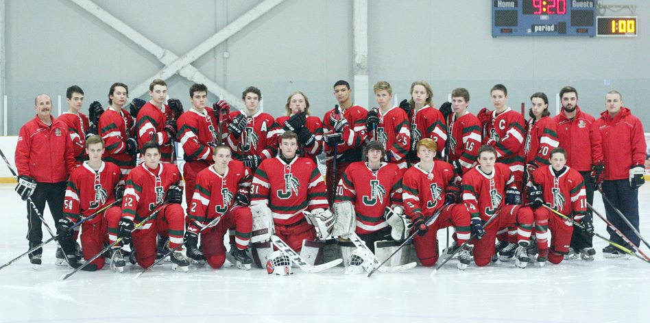 Above is the Jamestown Raiders hockey team. In the front row, from the left, are, Will Steen, Josh Brown, Blade Ellis, Kaleb Bender, Tommy Chapman, Tristan Spillane, Josh Spontaneo and Luke DePonceau. In back  head coach Joe Gerace, Jack Brinkley, Jadon Barron, Cole Snyder, Brian Burns, Cade Poston, Kole Maytum, Josh Walsh, Cam Turner, Drake Bell, Ben Bloomquist, Jacob Gerace, Patrick Guimond, assistant coach Tommy Gerace and assistant coach Joel Walsh.  P-J photo by Jay Young P-J photo by Jay Young