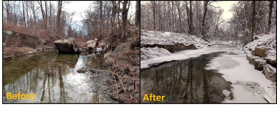 Pictured is the site of a stream bank stabilization project in Bemus Point. A failed bridge abutment was compromised during a November rainfall. Money from the county's 2 percent bed tax Lakes and Waterways Reserve was used to break the abutments down and the concrete used to stabilize the streambank to prevent erosion in the channel.